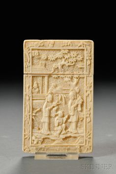 Ivory Card Case, China, carved in relief on both sides with scholars and pavilions, (loss), lg. 4 1/2 in.