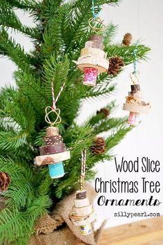 DIY stacked wood slice Christmas tree ornaments