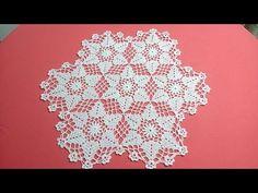 Centro de mesa o mantel redondo con Hexagono de Hojas Tejido con hilo crystal y gancho de aluminio # 3.00 mm .