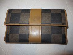 Fendi Wallet (Women's Pre-owned Black & Brown Multicolor Leather Checkbook Cover Vintage Wallet)