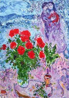 Marc Chagall ~ Red Bouquet With Lovers