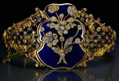 Peter Carl Faberge gold, diamond and guilloche enamel bracelet Antique jewelry for sale. Bracelet Antique, Gold Bangle Bracelet, Gold Bangles, Diamond Bracelets, Sapphire Bracelet, Victorian Jewelry, Antique Jewelry, Vintage Jewelry, Antique Rings