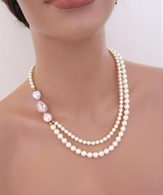 Rose Gold Bridal necklace Pearl Wedding necklace Bridal