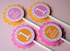 12 Cupcake Toppers 1st Birthday  Orange Pink by sosweetpartyshop, $10.00