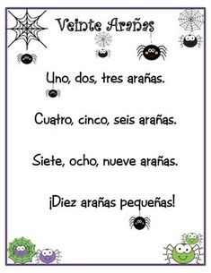 I love to teach this song in October when we are working on numbers in Spanish. This mega pack includes: song, two cloze procedure student printables, cut, create and illustrate book, count and write the Spanish number worksheets, count and circle the correct number worksheets. Learn Spanish and have fun!