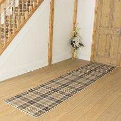 Tartan Beige Hallway Carpet Runner LENGTH: Select Length: 12m, WIDTHS: