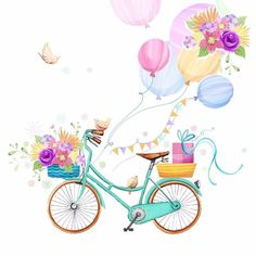 Happy Birthday - Balloons Flowers Birds - By: Victoria Nelson Bicycle Painting, Bicycle Art, Bicycle Design, Bicycle Illustration, Happy Birthday Wishes Cards, Cute Wallpapers, Watercolor Paintings, Decoupage, Drawings