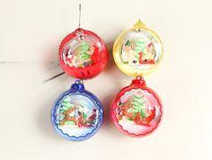 Vintage Plastic Christmas Ornaments w/ Santa / Elf Snow diorama scene (set of 4)
