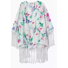 Yoins Fresh Floral Print Tassel Kimono ($27) ❤ liked on Polyvore featuring intimates, robes, black, floral print kimono, floral kimono, floral print robe, floral robe and beach kimono