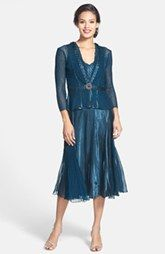 Komarov Beaded Charmeuse & Chiffon Dress with Jacket (Regular & Petite)