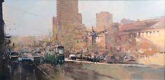 Branko Dimitrijevic, Tram, Oil on canvas, 35x70cm, £630