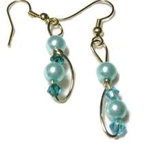 Blue Pearl dangle earrings Pearl and by DesigningParrotJewel, $16.00
