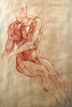 after Michelangelo seated young man and two arms - red, brown and white chalks - d'après Michel-Ange, jeune homme asis et deux bras - sanguine, sépia, blanc - marc charmois - 2016/02 (étape 2) (second step)
