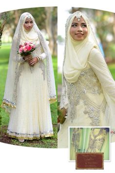 """""""Mix Breed"""" ~ 5pcs Anarkali+Pishwa+Maxi+Lengha+Dress in pastel yellow .. For the Muslimah Bride .. It can be worn sleeveless too for the non Muslimah , as it has a beautiful neckline and embellishments."""