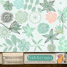 Mint Flower, Rose Clip Art - Mint Green, Aqua & Teal  Peach - Commercial Use Digital Graphics - Floral ClipArt - Printable. $6.95, via Etsy.