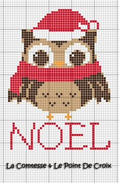 Free Chouette de Noël Cross Stitch Owl, Cross Stitch Freebies, Beaded Cross Stitch, Cross Stitch Animals, Cross Stitch Charts, Cross Stitching, Cross Stitch Embroidery, Embroidery Patterns, Cross Stitch Patterns