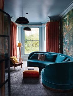 Featured in this month's sophisticated and moody hues are complemented by our mohair slate rug in the living room of her client's north London home. Nest Design, House Design, Art Deco Fireplace, Diy Zimmer, Curved Sofa, London House, Spare Room, Modern Sofa, Victorian Homes