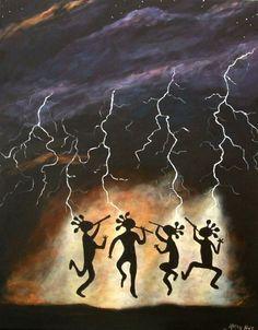 Items similar to Kokopelli Art by Kathy Hatt Rain Dance Surreal Fantasy Native Style on Etsy Native American Symbols, Native American Indians, Indian Crafts, Indian Art, Dancing In The Rain, Rain Dance, Southwest Art, Rock Chic, Gourd Art