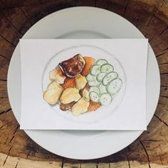 #lunchlala •weird meat with cucumber salad and potatoes•Long term food illustration project.💉 Hospital and school lunches 📚.#foodillustration #foodillustrator #foodart #foodie #foodgasm #cooking #cook #illustration #art #bratislava #slovakartist #artist #foodpainting #foodblog #foodblogger #lovefood #delicious #yummy #bratislavafood #food #hospitalfood #schoolfood #lentils #maso #uglyfood #jedlo #uzasnejedlo Food Illustrations, Illustration Art, Hospital Food, Food Painting, Personal Portfolio, Food Drawing, School Lunches, Cucumber Salad, Bratislava