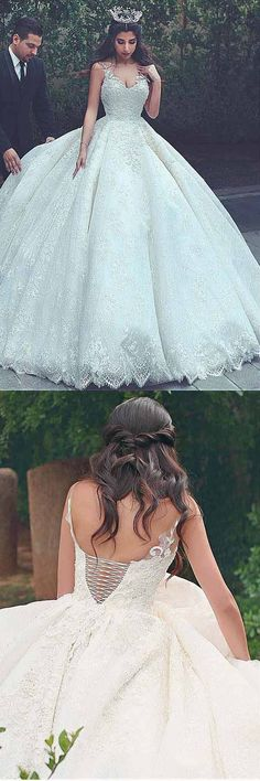 V-neck Neckline Ball Gown Wedding Dresses With Lace Appliques WD187 #weddings #weddingdress