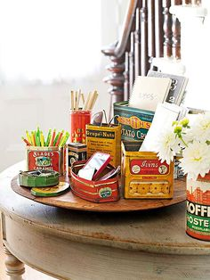 Vintage tin containers make the perfect, quirky style for your home: http://www.bhg.com/decorating/decorating-style/flea-market/ideas-for-flea-market-finds/?socsrc=bhgpin061514getorganizedfleamarket&page=4