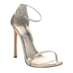 Stuart Weitzman Gold iridescent leather 'Nudist' stiletto sandals ($340) ❤ liked on Polyvore featuring shoes, sandals, gold, ankle strap stilettos, gold sandals, gold strap sandals, gold strappy sandals and high heels stilettos