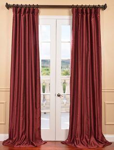 Cherrywood Yarn Dyed Faux Dupioni Silk Curtain - SKU: PDCH-HANB46 at https://halfpricedrapes.com