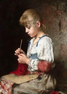 Young Girl Crocheting / Alexei Alexeievich Harlamoff