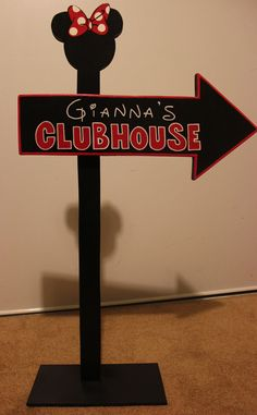 Wood Micky Mouse or Minnie Mouse Clubhouse Sign - Outdoor Post - Mickey Mouse - Birthday Party Decorations - All Black - Unique design. $30.00, via Etsy.