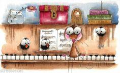 Original Watercolor Folk Art Whimsical Illustration Mouse Bird Crow Spider Piano | eBay