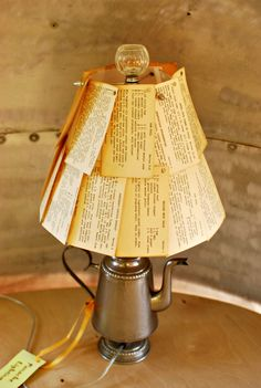DIY Lampshade Ideas: How to Make and Update Lampshades: Recipe Card Shade with Repurposed Percolator Lamp