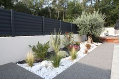 best white gravel landscaping ideas & designs for 38 Gravel Landscaping, Landscaping With Rocks, Front Yard Landscaping, Landscaping Ideas, Xeriscaping, Garden Stones, Garden Planters, Garden Edging, Balcony Garden