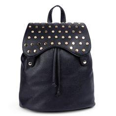 studded black backpack purse