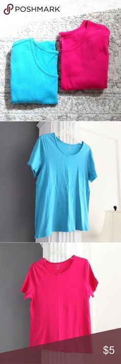 Pair of bright t-shirts Very gently used in excellent condition!  Price includes both!  Size XL.  Bust measures about 42, length about 25.  Price is firm because it's so low.  Add to a bundle to save 10% today! Tops Tees - Short Sleeve