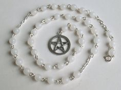 Witches ladders are pagan prayer beads, traditionally made with 40 beads in groups of and As these are know to be magical numbers. They are used for meditation spells counting prayers and focusing the mind. This ladder is made from silver pla Wiccan Witch, Magick, Witchcraft, Wiccan Crafts, Hedge Witch, Pagan Jewelry, Gothic Jewelry, Prayer Beads, Rosary Beads