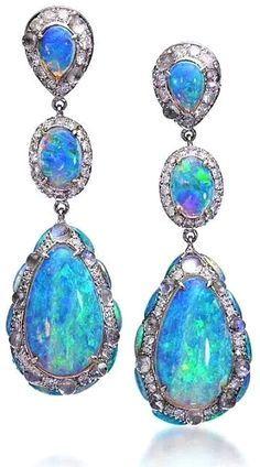 Black Opal Drop Earrings by Lugano Diamonds October Birthstone. Gems Jewelry, High Jewelry, Bling Jewelry, Gemstone Jewelry, Vintage Jewelry, Jewelry Accessories, Jewelry Design, Purple Jewelry, Black Opal Jewelry
