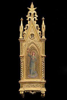Italiana Pintura Antigua esmaltado de porcelana en Ángel en marco dorado de estilo gótico
