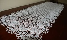 32 long beautifully crafted lace knit table by BloomingNeedles