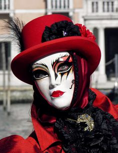 Lady with a red hat - Venice Carnival 2012 by Lesley McGibbon