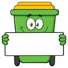 Recycle Bin Holding A Blank Sign by HitToon on Recycling Games, Recycling Of Waste, Recycling Activities For Kids, Preschool Learning Activities, Recycling Bins, Clipart, Kids Printmaking, Simpsons Funny, Blank Sign