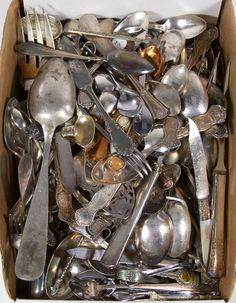 Lot 655: Silverplate Flatware Assortment; Including souvenir spoons and serving utensils