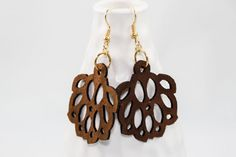 Gift for her - Floral wooden earrings made from walnut. Perfect earrings for fall. Great anniversary, birthday or Christmas gift. Handmade jewelry. American made. Fall fashion. Funky. Fun. Beautiful. http://aftcra.com/item/706