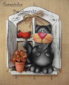 Teresinha Paczkowski: biscuit country Cat Crafts, Diy And Crafts, Paper Crafts, Arts And Crafts, Craft Projects, Projects To Try, Arte Country, Wooden Cutouts, Cute Clay