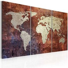 Toile photo carte du monde tableaux orange for Tableau pret a accrocher