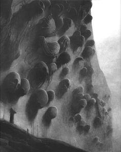 Zdzisław Beksiński wall of bightmares Dark Fantasy, Fantasy Art, Arte Horror, Horror Art, Dungeons And Dragons, Macabre Art, Creepy Art, Surreal Art, Oeuvre D'art