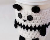 Crochet Panda Coffee Cup Drink Cozy