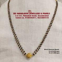 Pearl Necklace Designs, Gold Earrings Designs, Gold Jewellery Design, Black Diamond Chain, Black Diamond Jewelry, Gold Necklace Simple, Gold Jewelry Simple, Gold Jhumka Earrings, Gold Mangalsutra Designs