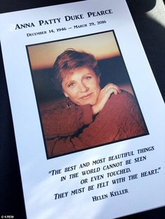 Actress Patty Duke was remembered in a public memorial service at Lake City Church in Coeur d'Alene, Idaho on Saturday. Duke, whose real name was Anna Pearce, died March Patty Duke Show, John Astin, Anne Sullivan, Mental Health Advocate, Famous Graves, Photography Words, Valley Of The Dolls, People Of Interest, Coeur D'alene