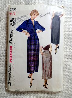 Vintage pattern Simplicity 2937 1950s Tie Waist Top blouse jacket sewing Rockabilly Marilyn Monroe  Bust 34 Batwing Pinup Girl