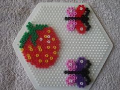 Strawberry butterflies hama perler by zabicra